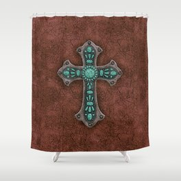 Brown and Turquoise Rustic Cross Shower Curtain