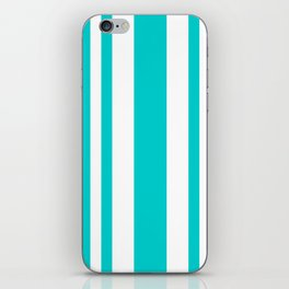 Mixed Vertical Stripes - White and Cyan iPhone Skin