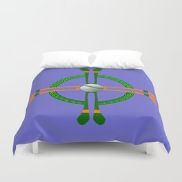 Hurley and Ball Celtic Cross Design - Solid colour background Duvet Cover