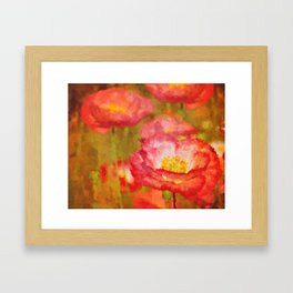 Red and White Poppy Flowers Abstract Botanical Garden Floral Landscape Framed Art Print