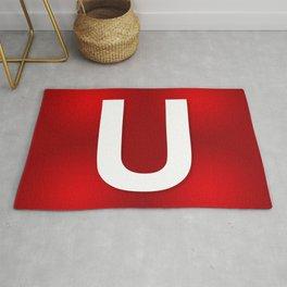 Red letter U Rug