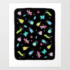 Neon Bugs Art Print