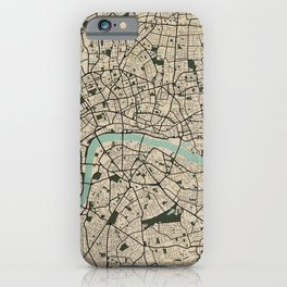 London City Map of England - Vintage iPhone Case