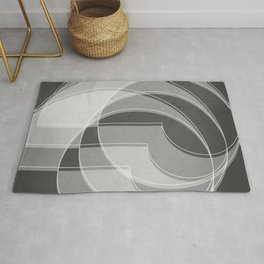Spacial Orbiting Spiral in Charcoal Gray Rug