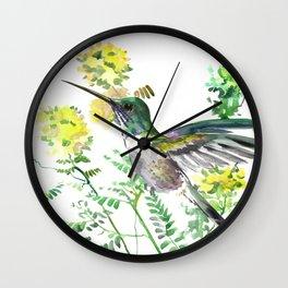 mmingbird design green yew Hummingbird and Yellow Flowers Wall Clock
