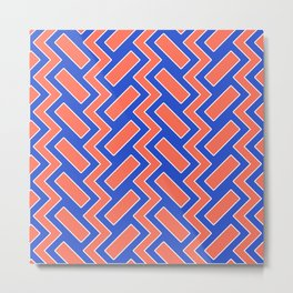 032 Abstract white, blue and orange art for home decoration Metal Print