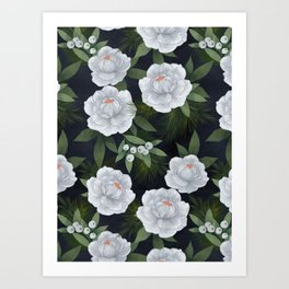 winter rose // repeat pattern Art Print