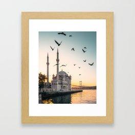 Ortaköy Mosque in Istanbul, Turkey - Golden Sunrise Framed Art Print