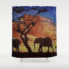 sunset on elephant family moving Shower Curtain