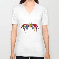crab V-neck T-shirts featuring Crab by Aleksandra Mikolajczak