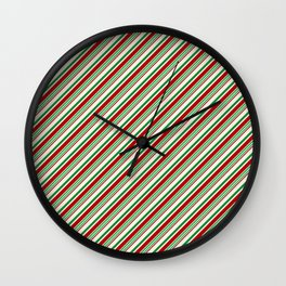 Candy Cane Stripes Red Green and Cream Wall Clock
