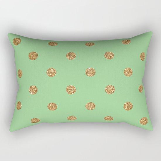 Sea Green Gold Glitter Dots Rectangular Pillow