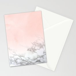 Rose Gold Pink Pastel Marble Luxe Fade II Stationery Cards