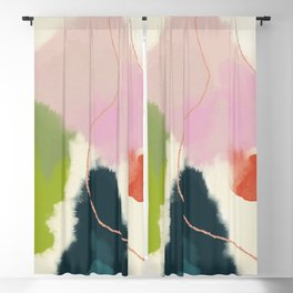 sky abstract with pink & green clouds Blackout Curtain