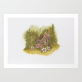 The cottage at the edge of the forest Art Print