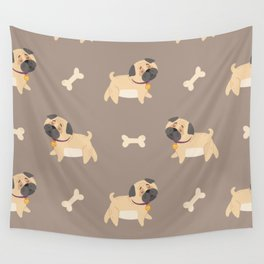 Cute Baby Pug Dog and Bones Wall Tapestry