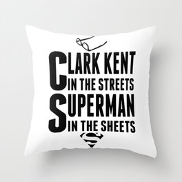 Superman in Sheets 01 Throw Pillow
