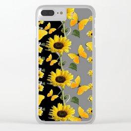 YELLOW BUTTERFLIES & SUNFLOWERS ART PANELS Clear iPhone Case
