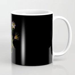 Nigella Hispanica Mary Delany Delicate Paper Flower Collage Black Background Floral Botanical Coffee Mug