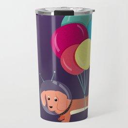Galaxy Dog with balloons Travel Mug