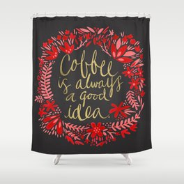 Coffee on Charcoal Shower Curtain