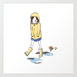 Grumpy Gail Steps Over Puddles Art Print