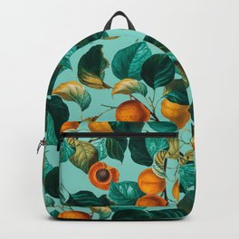 Peach and Leaf Pattern Backpack