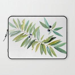 Leaves Berries Sage Green Turquiose Nature Art Floral Watercolor Laptop Sleeve