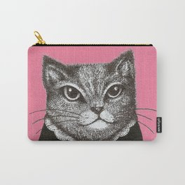 Pink Cat - Ink and acrylic cat art Carry-All Pouch
