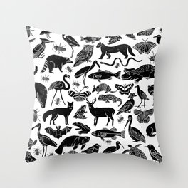 Linocut animals nature inspired printmaking black and white pattern nursery kids decor Throw Pillow