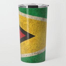 Old and Worn Distressed Vintage Flag of Guyana Travel Mug