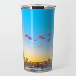 Soft Sunset over New York City Bridge (Color) Travel Mug