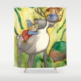 Elves and Reindeer Shower Curtain