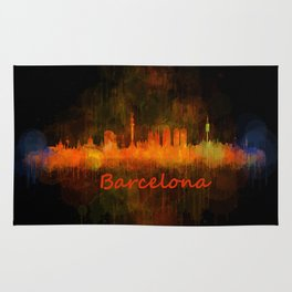 Barcelona City Skyline Hq _v4 Rug
