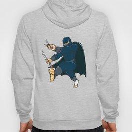 Ninja Masked Warrior Kicking Cartoon Hoody