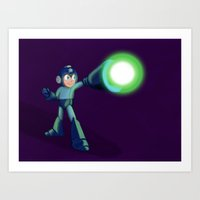 mega man Art Prints featuring Mega Man by DROIDMONKEY