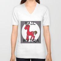 hydra V-neck T-shirts featuring HYDRA Pony by Tiff