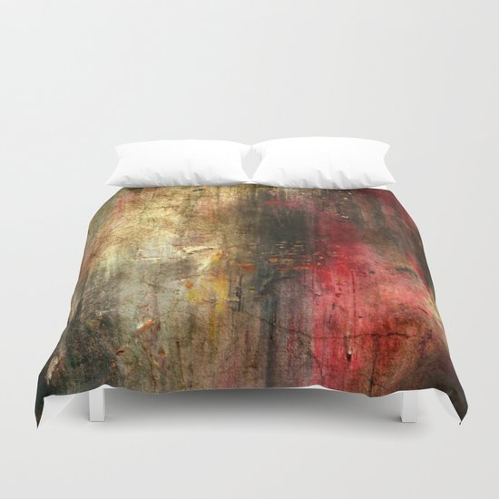 Fall Abstract Acrylic Textured Painting Duvet Cover