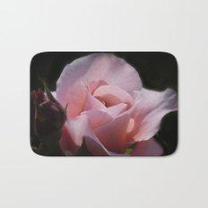 dreamy rosebuds on black Bath Mat