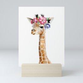 Baby Giraffe with Flower Crown Mini Art Print