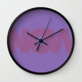 The Time is Now - Red on Purple Wall Clock