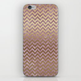 Pink and Gold Faux Velvet Grunge Chevron Stripes iPhone Skin