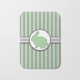 Green Rabbit Stripes Pattern Design Bath Mat