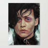 edward scissorhands Canvas Prints featuring Edward Scissorhands by Vlad Rodriguez