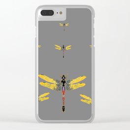 GOLDEN-RED DRAGONFLIES ON GREY Clear iPhone Case