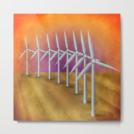 Windfarm at sunset Metal Print