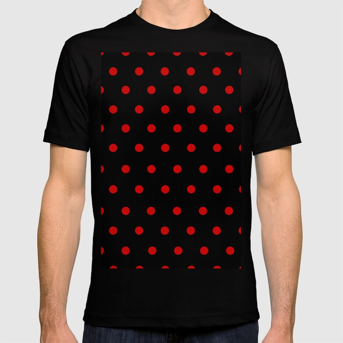 ec21bdd4ef0205 Rizzo - Red Polka Dots in Black T-shirt by saymmmkay | Society6