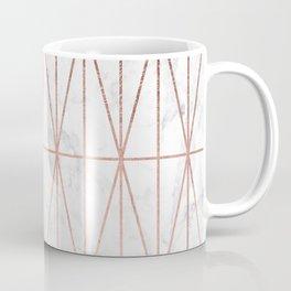 Modern geometric triangles faux rose gold pattern on white marble Coffee Mug