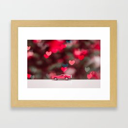 red car on the table at the love background Framed Art Print