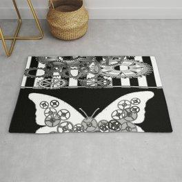 BLACK & WHITE CLOCKWORK BUTTERFLY ABSTRACT ART Rug